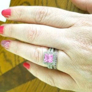 Pink Sapphire and diamond white gold ring set
